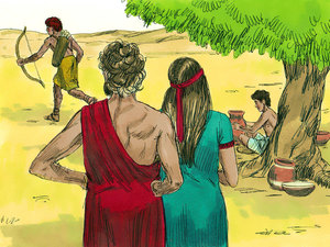 Isaac And Rebekah Were Living Happily In The Land Of Gerar With Their Twin Boys